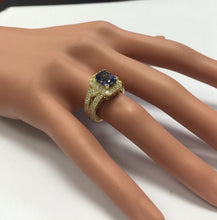 Load image into Gallery viewer, 3.30 Carats Natural Very Nice Looking Tanzanite and Diamond 14K Solid Yellow Gold Ring