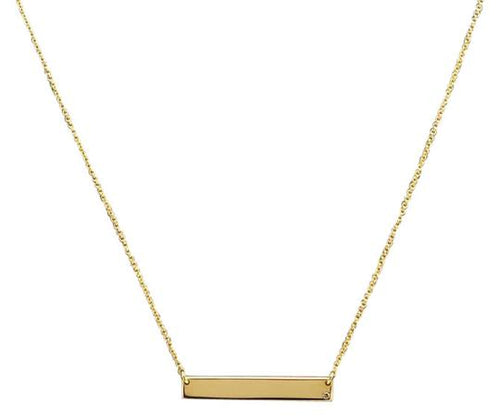 Splendid 14k Solid Yellow Gold Bar Necklace with Diamond Accent