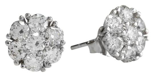Exquisite 1.60 Carats Natural VVS Diamond 14K Solid White Gold Stud Earrings