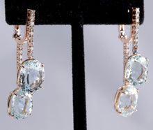 Load image into Gallery viewer, Exquisite 21.79 Carats Natural Aquamarine and Diamond 14K Solid Rose Gold Earrings