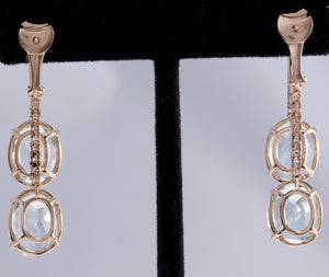 Exquisite 21.79 Carats Natural Aquamarine and Diamond 14K Solid Rose Gold Earrings