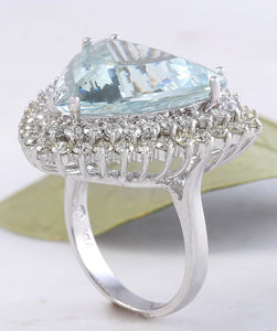 17.22 Carats Natural Very Nice Looking Aquamarine and Diamond 14K Solid White Gold Ring