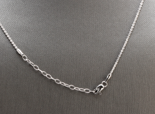 Load image into Gallery viewer, Splendid 14k Solid White Gold Infinity Necklace with Natural Diamond Accent and Raw Sapphires