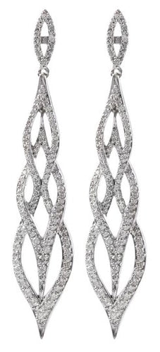 Exquisite 2.62 Carats Natural Diamond 18K Solid White Gold Earrings