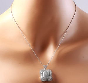 Splendid 7.28 Carats Natural VVS Diamond 18K Solid White Gold Necklace