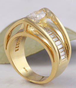 2.06 Carats Natural Diamond 18K Solid Yellow Gold Engagement Ring