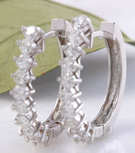 Load image into Gallery viewer, Exquisite 1.25 Carats Natural Diamond 14K Solid White Gold Huggie Earrings