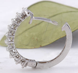 Exquisite 1.25 Carats Natural Diamond 14K Solid White Gold Huggie Earrings