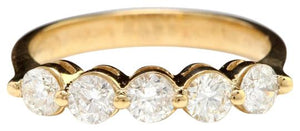 Splendid .90 Carats Natural Diamond 14K Solid Yellow Gold Ring