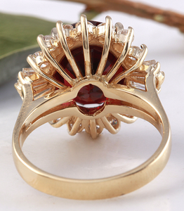 10.10 Carats Impressive Red Garnet and Natural Diamond 14K Yellow Gold Ring