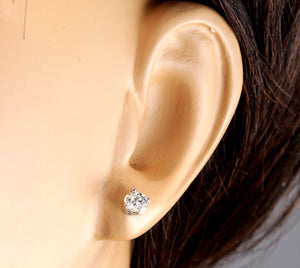 Exquisite 1.00 Carats Natural Diamond 14K Solid White Gold Stud Earrings