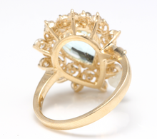 Load image into Gallery viewer, 3.85 Carats Natural Gorgeous Aquamarine and Diamond 14K Solid Yellow Gold Ring