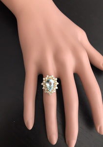 3.85 Carats Natural Gorgeous Aquamarine and Diamond 14K Solid Yellow Gold Ring