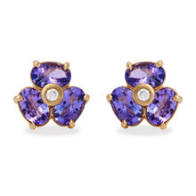 Load image into Gallery viewer, Exquisite 3.06 Carats Natural Tanzanite and Diamond 14K Solid Yellow Gold Stud Earrings
