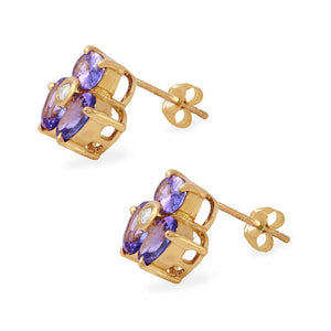 Exquisite 3.06 Carats Natural Tanzanite and Diamond 14K Solid Yellow Gold Stud Earrings