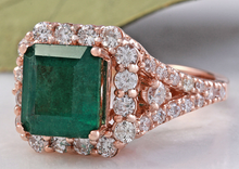 Load image into Gallery viewer, 5.20 Carats Natural Emerald and Diamond 14K Solid Rose Gold Ring