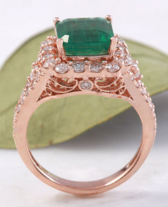 5.20 Carats Natural Emerald and Diamond 14K Solid Rose Gold Ring