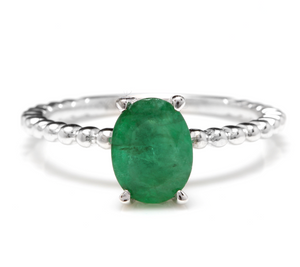 1.20 Carats Exquisite Natural Emerald 14K Solid White Gold Ring
