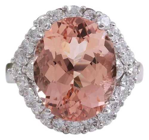 7.50 Carats Exquisite Natural Morganite and Diamond 14K Solid White Gold Ring