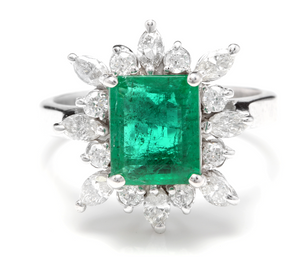 4.30 Carats Natural Emerald and Diamond 14K Solid White Gold Ring