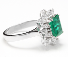 Load image into Gallery viewer, 4.30 Carats Natural Emerald and Diamond 14K Solid White Gold Ring