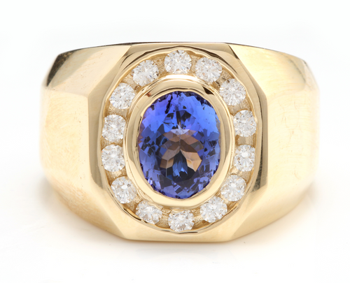 6.30 Carats Natural Tanzanite and Diamond 14K Solid Yellow Gold Men's Ring