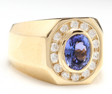 Load image into Gallery viewer, 6.30 Carats Natural Tanzanite and Diamond 14K Solid Yellow Gold Men's Ring