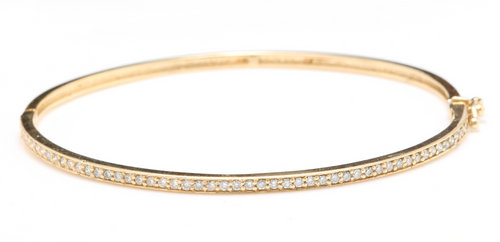 Very Impressive 0.75 Carats Natural Diamond 14K Solid Yellow Gold Bangle Bracelet