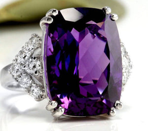 13.80 Carats Natural Amethyst and Diamond 14K Solid White Gold Ring