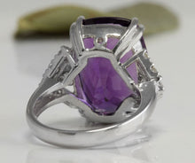 Load image into Gallery viewer, 13.80 Carats Natural Amethyst and Diamond 14K Solid White Gold Ring