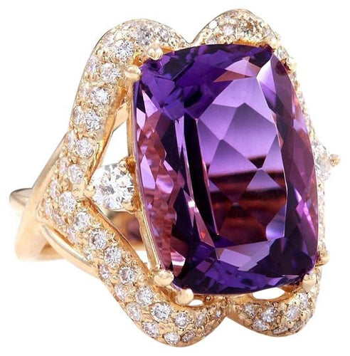 13.50 Carats Natural Amethyst and Diamond 14K Solid Yellow Gold Ring