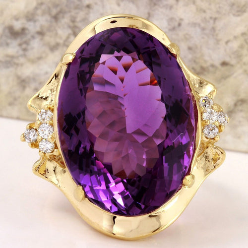25.25 Carats Natural Amethyst and Diamond 14K Solid Yellow Gold Ring