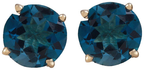 Exquisite Top Quality 4.25 Carats Natural London Blue Topaz 14K Solid Yellow Gold Stud Earrings
