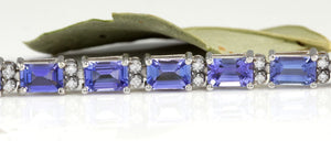 Very Impressive 12.45 Carats Natural Tanzanite & Diamond 14K Solid White Gold Bracelet