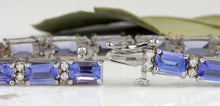 Load image into Gallery viewer, Very Impressive 12.45 Carats Natural Tanzanite & Diamond 14K Solid White Gold Bracelet