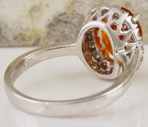 2.55 Carats Exquisite Natural Madeira Citrine and Diamond 14K Solid White Gold Ring