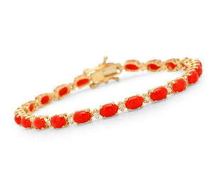 Very Impressive 11.50 Carats Natural Coral & Diamond 14K Solid Yellow Gold Bracelet