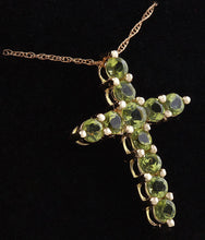 Load image into Gallery viewer, 1.20 Carat Natural Green Peridot 14K Solid Yellow Gold Cross Pendant with Chain