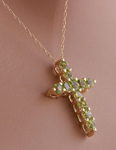 1.20 Carat Natural Green Peridot 14K Solid Yellow Gold Cross Pendant with Chain