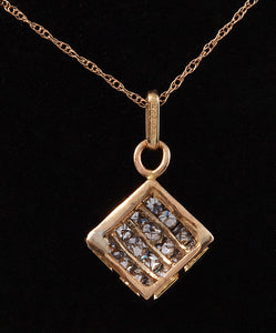 Splendid .90 Carats Natural Diamond 14K Solid Yellow Gold Pendant Necklace