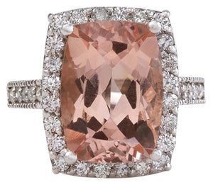 13.65 Carats Exquisite Natural Morganite and Diamond 14K Solid White Gold Ring