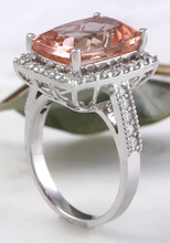 Load image into Gallery viewer, 13.65 Carats Exquisite Natural Morganite and Diamond 14K Solid White Gold Ring
