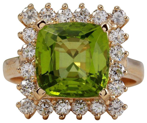 5.30 Carats Natural Very Nice Looking Peridot and Diamond 14K Solid Yellow Gold Ring
