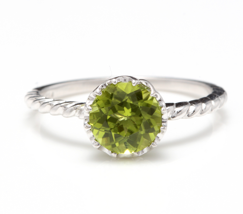1.50 Carats Exquisite Natural Peridot 14K Solid White Gold Ring