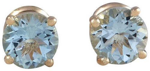 Exquisite Top Quality 2.00 Carats Natural Aquamarine 14K Solid Yellow Gold Stud Earrings