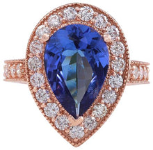 Load image into Gallery viewer, 3.90 Carats Natural Very Nice Looking Tanzanite and Diamond 14K Solid Rose Gold Ring