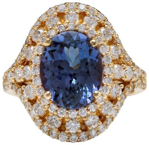 5.00 Carats Natural Splendid Tanzanite and Diamond 14K Solid Yellow Gold Ring