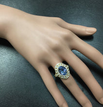Load image into Gallery viewer, 5.00 Carats Natural Splendid Tanzanite and Diamond 14K Solid Yellow Gold Ring