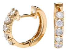 Load image into Gallery viewer, Exquisite .65 Carats Natural Diamond 14K Solid Yellow Gold Hoop Earrings