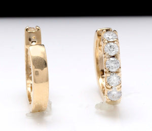 Exquisite .65 Carats Natural Diamond 14K Solid Yellow Gold Hoop Earrings